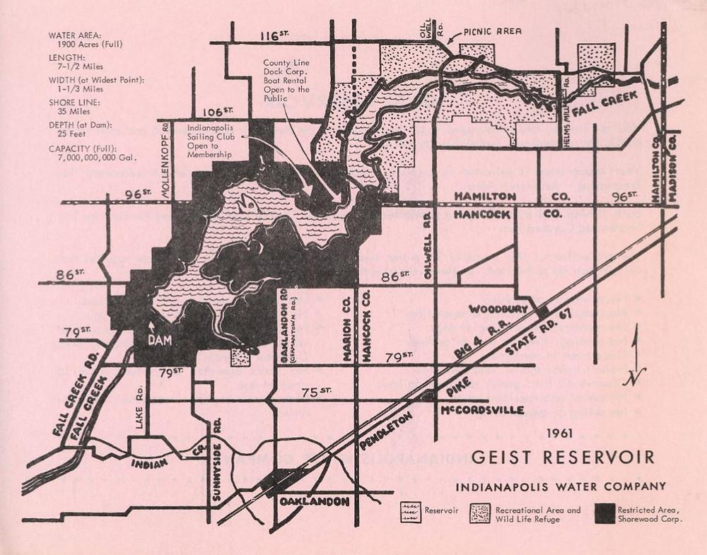 Geist reservoir old map shorewood