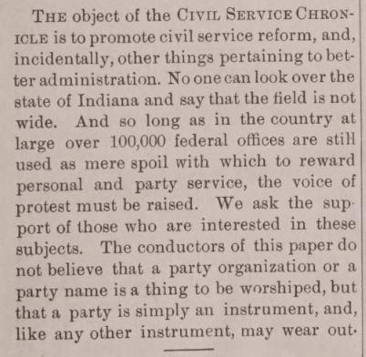 Civil Servce Chronicle, Volume 1, No. 1, March 1889