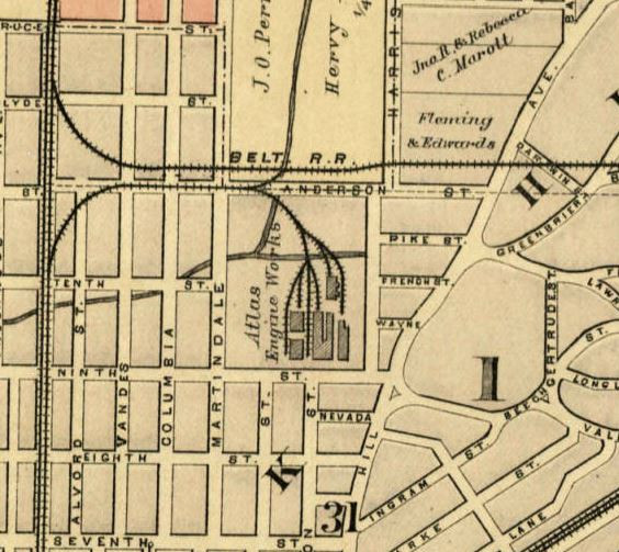 Indianapolis history 1889 map of atlas engine works