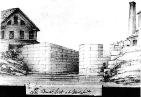 Central Canal Indianapolis history stone lock Christian Schrader