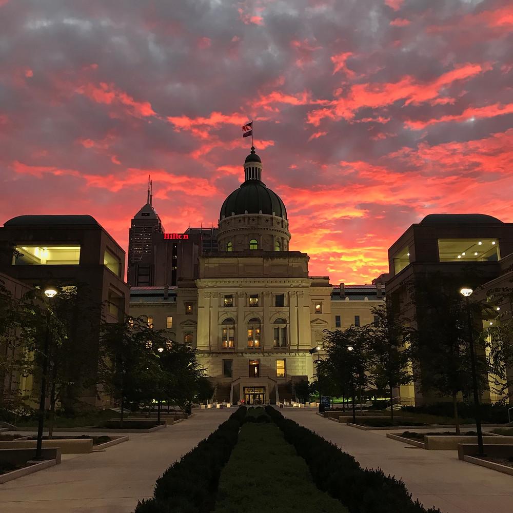 Indiana statehouse sunrise #indyturns200 Indianapolis centennial