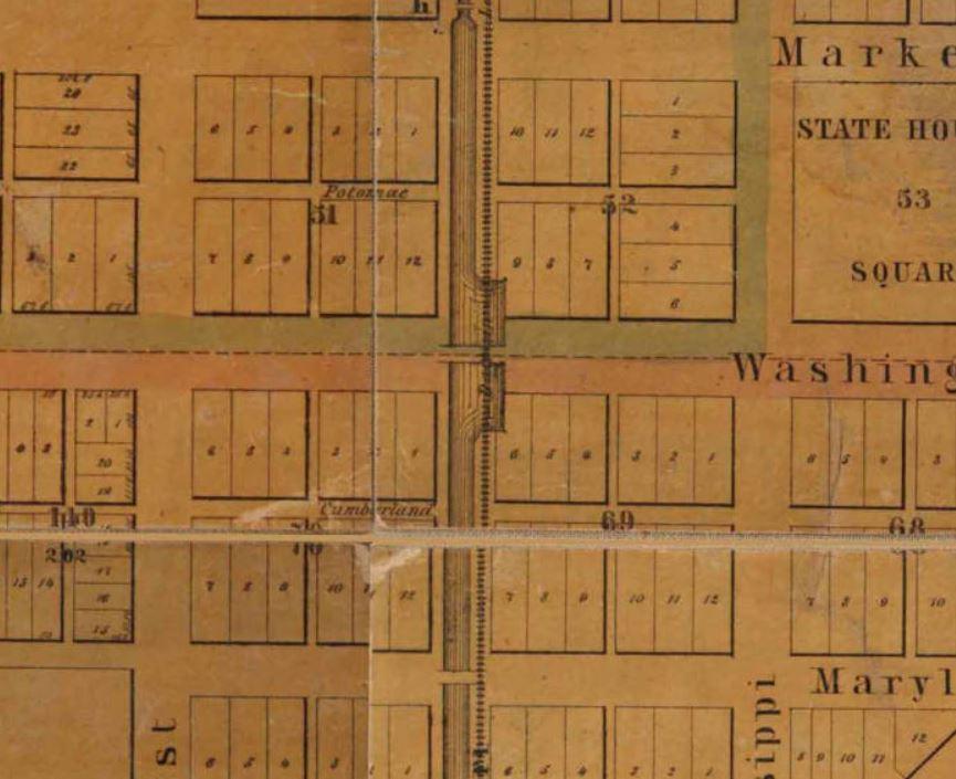 1852 Indianapolis history map