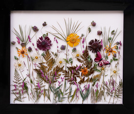 """Combination of wild grasses, ferms and flowers. Colors are enhanced with a touch of acrylic paint and protected in a UV resistant epoxy resin. 24.5"""" x 28.5"""" SOLD but similar pieces can be created  $345.00"""