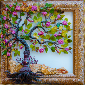 """Tassle tree with real leaves and Cherry Blossoms enhanced with a touch of acrylic paint to protect the vibrant colors. Rose colored mica and purple flowers create the ground. 14"""" x 14"""" SOLD.  Similar $165 FREE Shipping"""
