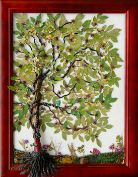 """Real leaves, moss and flowers adorn the tree which is comprised of a curtain tassle entwined around a vine. Tassles make fabulous roots, tree trunks and branches. Frame is a gorgeous cherry wood. 28.5"""" x 22""""  $395.00 FREE Shipping in US"""