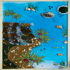 Tropical Paradise: set on blue resin this scene depicts an unchartered tropical cove complete with waterfall, sea creatures and a sunken pirate ship! SOLD