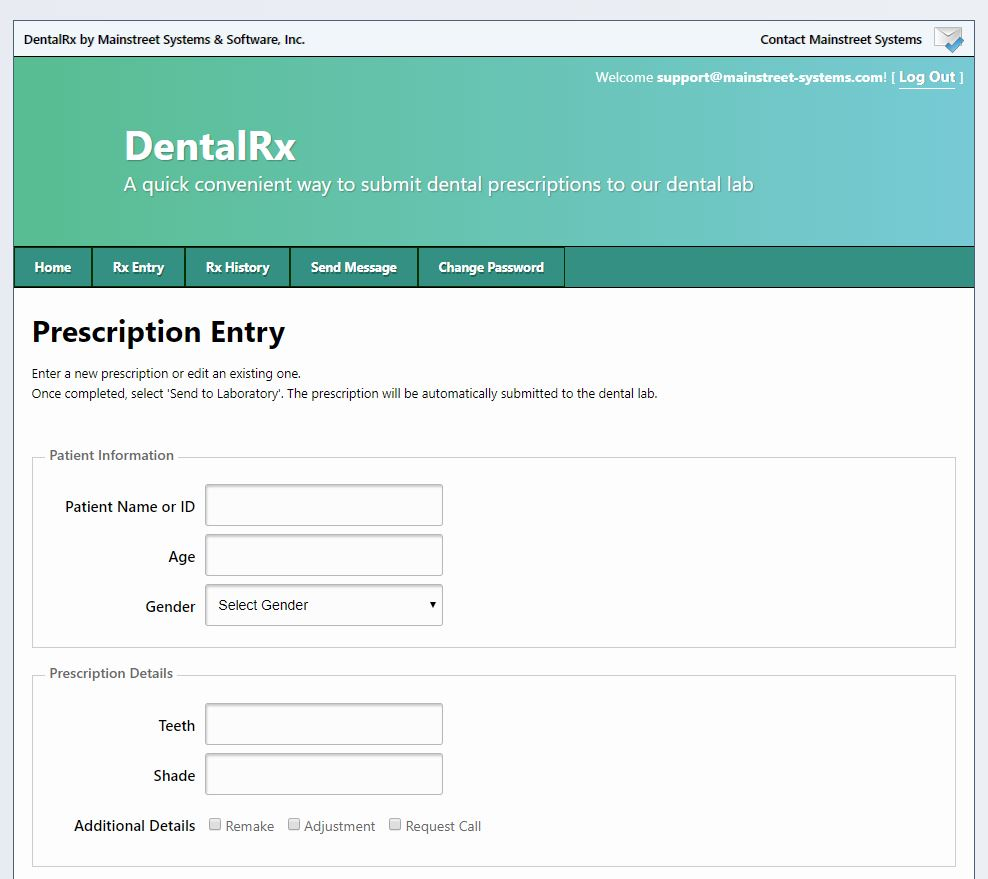 DentalRx Prescription Entry 1