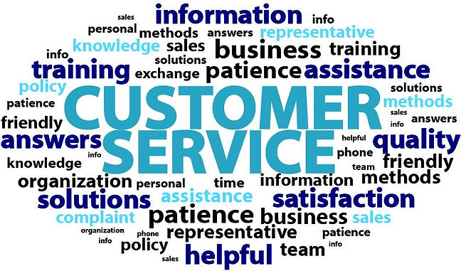 Customer Service, patience, friendly, answers, knowledge, personal, quality