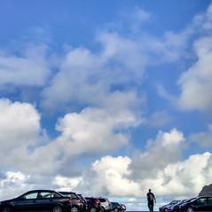 Sky, Cars, Mountain, Man