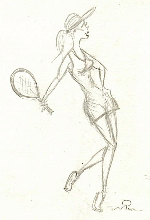 Dressed like a tennis star. Sketch