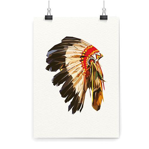 American Native Indian War Bonnet Wall Art Print