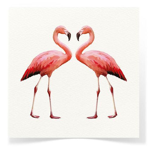 2 Flamingos Greeting Cards 3pack