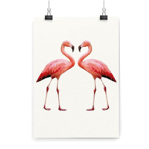 2 Flamingos Wall Art Print