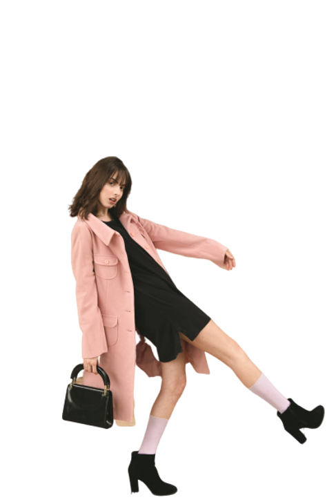 woman-wearing-pink-overcoat-and-black-in