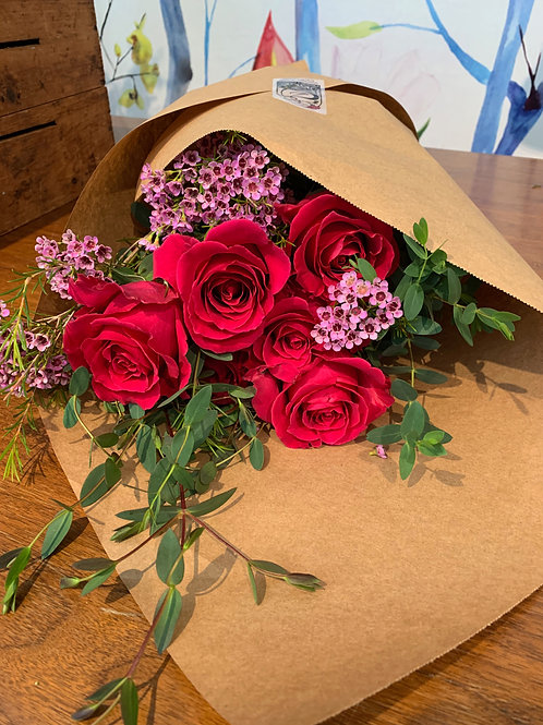 6 Long Stemmed Roses Wrapped in Paper