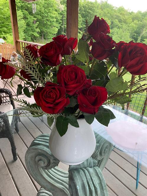 One Dozen Long Stemmed Roses in a Vase