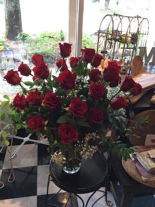 Two Dozen Long Stemmed Roses in a Vase