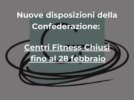 Centri Fitness Chiusi fino al 28 Febbraio 2021