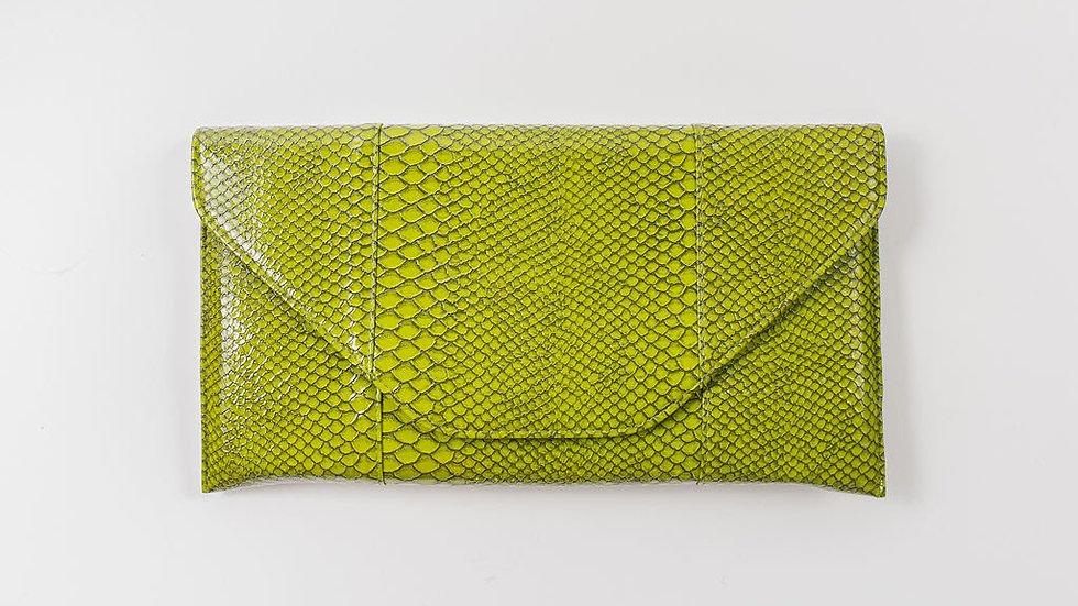 Faux Alligator clutch - Green