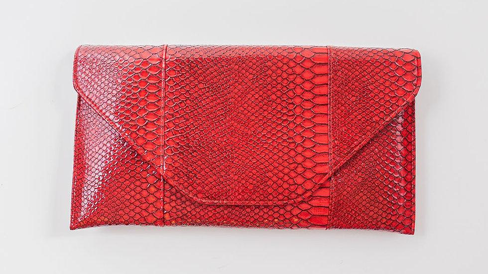 Faux Alligator clutch - Red