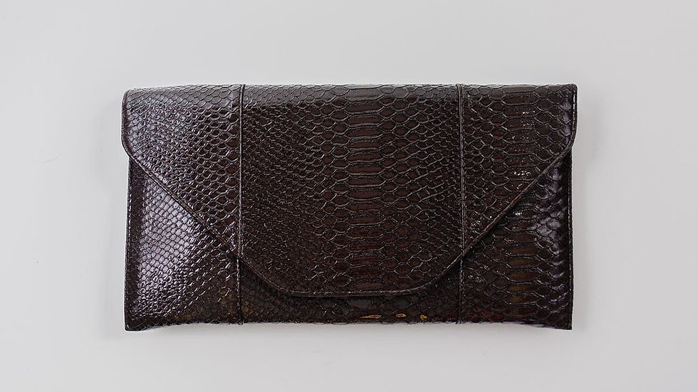 Faux Alligator clutch - Brown