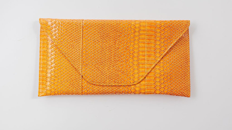 Faux Alligator clutch - Yellow