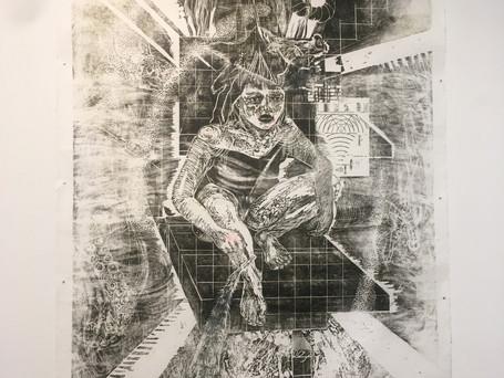 """œuvre de Tereza Lochmann lors de l'exposition """"Regard de biais/Sideways glance/Pohled stranou"""""""