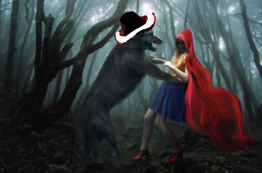 A red riding hood figure standing facing a wolf wearing a red and white sun hat
