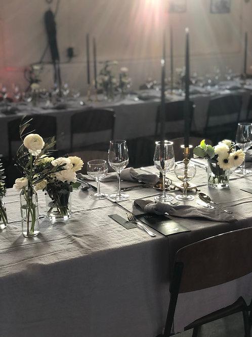 Tischdecke Leinen - Hellgrau