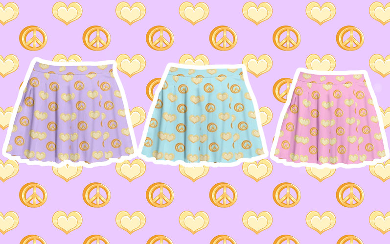 Peace and Love Pastel Pleated Skirt
