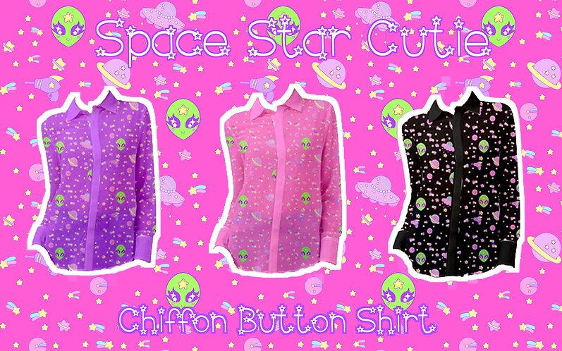 Space Star Cutie Chiffon Button Shirt
