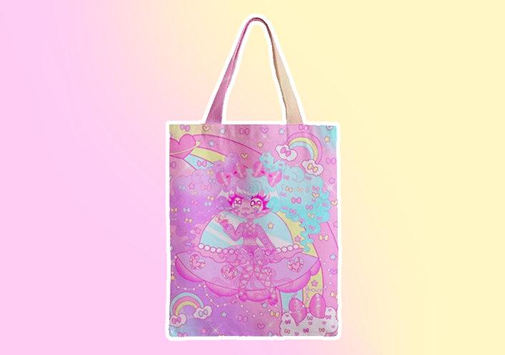 Space Bow Cutie Zipper Tote Bag