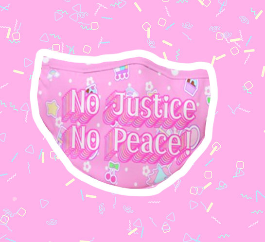 No Justice No Peace Fitted Face Mask