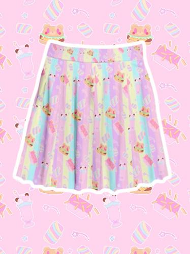 Coco Kuma Diner Pleated Skirt