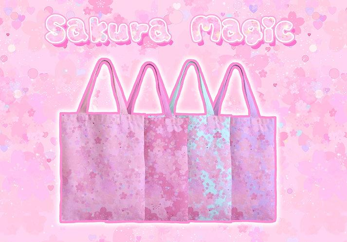 Sakura Magic Zipper Tote Bag