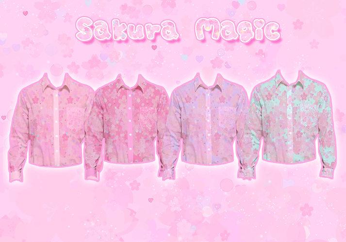 Sakura Magic Long Sleeve Button-Up