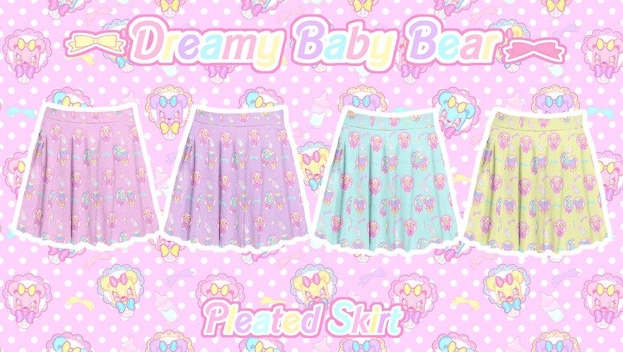 Dreamy Baby Bear Pleated Skirt