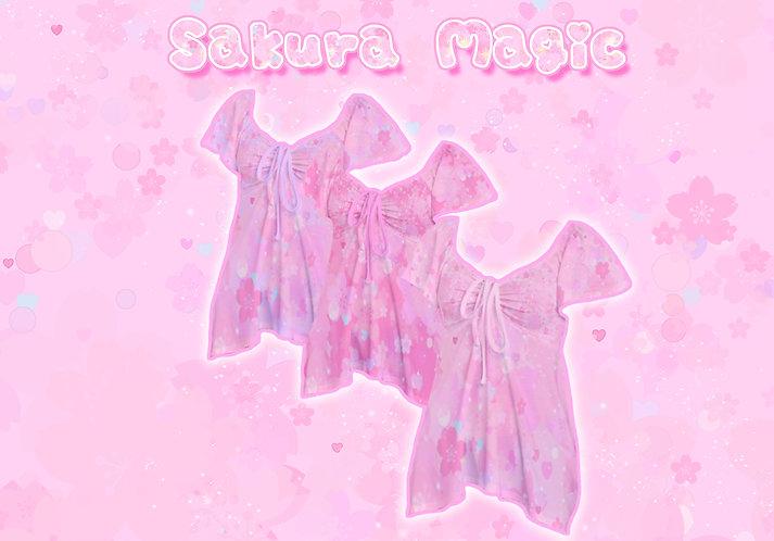 Sakura Magic Lace-up Flare Top