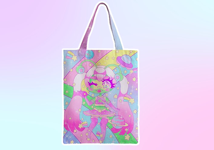 Space Star Cutie Zipper Tote Bag