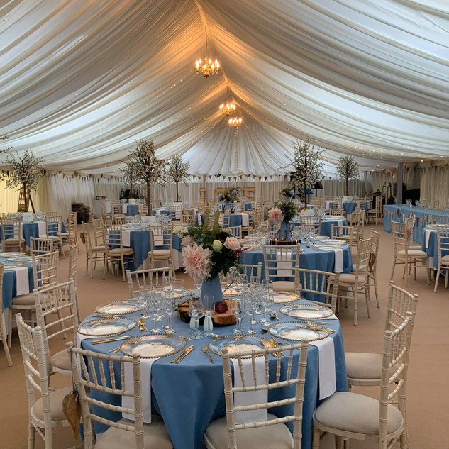 Blue touches venue dressing by TMS Event