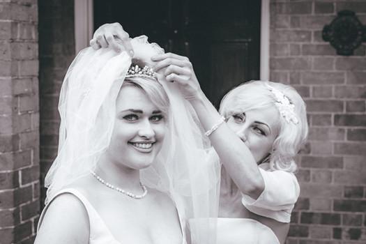 1960s bride and bridesmaid