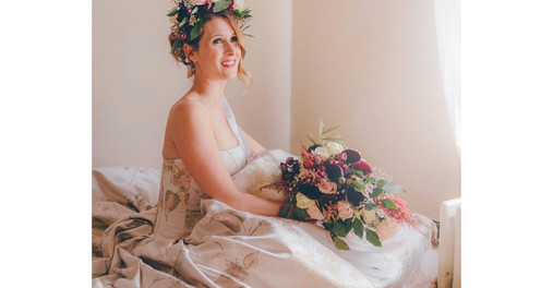 Nicki modelling bouquet and floral crown