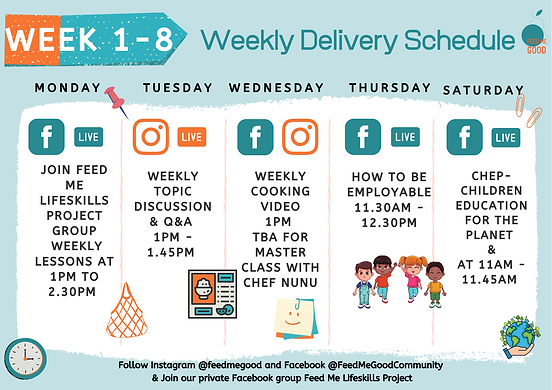 FEED ME LIFESKILLS Weekly Delivery Sched