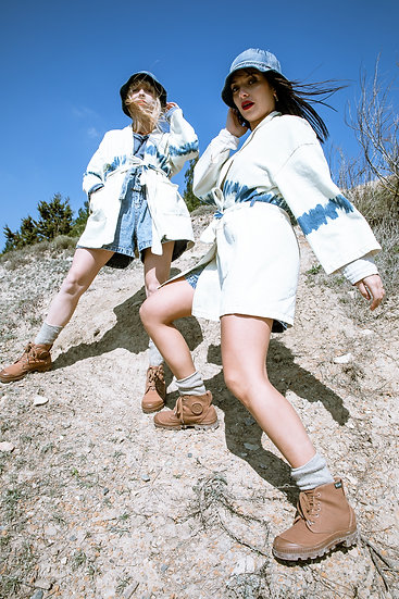 Kimono en jean Tie and Dye