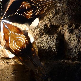 Light instalation made with roe skulls.
