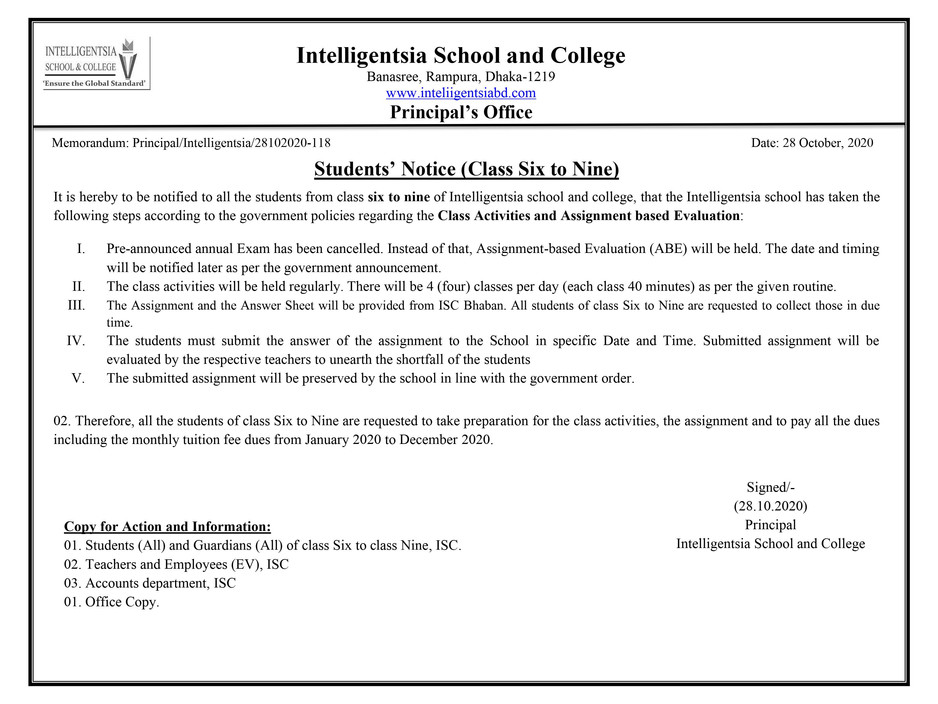 Students' Notice (Class Six to Nine) Regarding 30 Working Days Class and Assignment_EV_ISC.