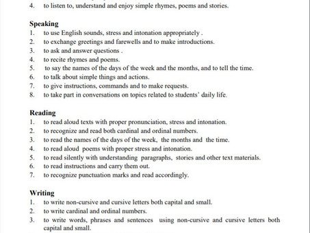 Learning four Skills of English (as per NCTB Primary book)