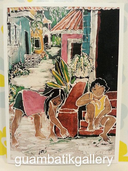 Print: Batik Playing 5X7 Blank Card