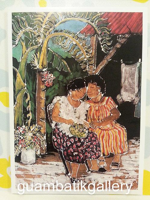 Print: Batik Ladies w Betelnut 5X7 Blank Card