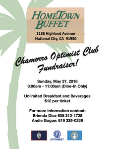 Join the Chamorro Optimist Club's buffet breakfast fundraiser on Sunday, May 27, 8-11am!